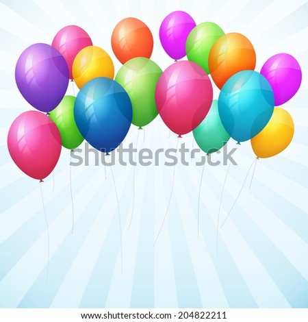 empty birthday vector background with colorful balloons. isolated from background. - stock vector