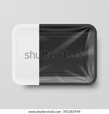 Empty Black Plastic Food Container with Empty Label on Gray - stock vector