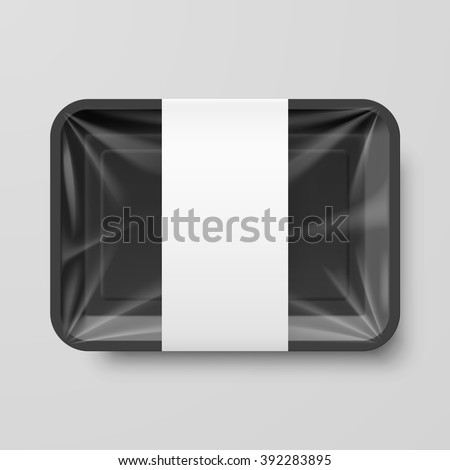 Empty Black Plastic Food Container with Label on Gray Background - stock vector