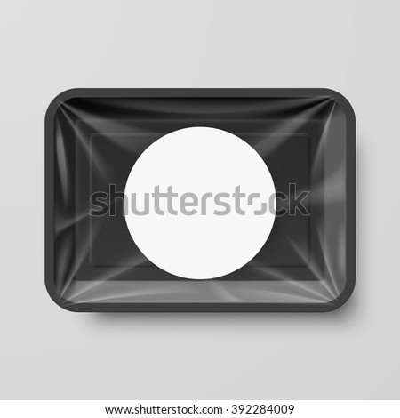 Empty Black Plastic Food Container with Round Label - stock vector