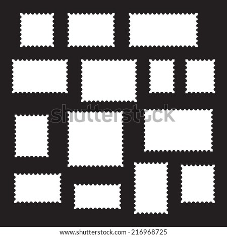 Empty blank postage stamps different size, icons set, white isolated on black background, vector illustration. - stock vector