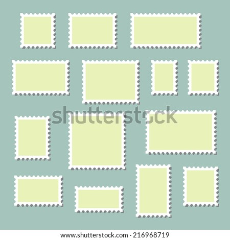 Empty blank postage stamps different size, icons set, with shadows, isolated on blue background, vector illustration.