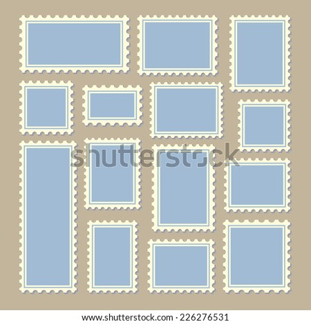 empty blank postage stamps different size in blue and white color isolated on beige background with shadows. vector illustration  - stock vector