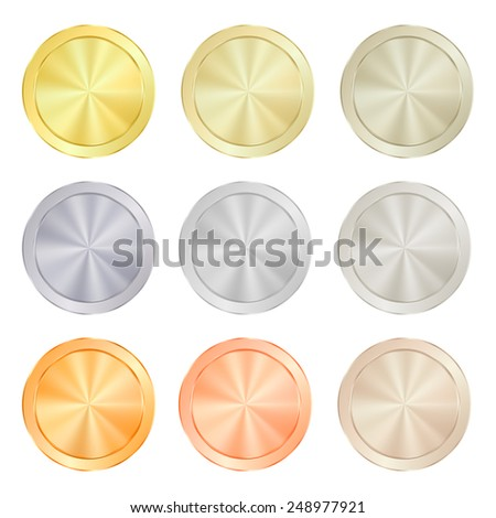 empty Blank Set  vector templates for coin, price tags, sewing buttons, buttons, icons or medals with gold different types: white, red, pink, silver, platinum shiny metal texture - stock vector