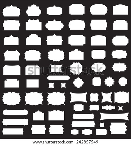 Empty blank vintage frame, set, romantic old style design elements, abstract objects, white silhouettes isolated on black background, vector illustration. - stock vector