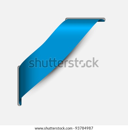 Empty blue corner ribbon - you can write some text on it (sale, new, sold, free, hot, etc) - stock vector