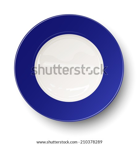 Empty blue plate isolated on white background - stock vector