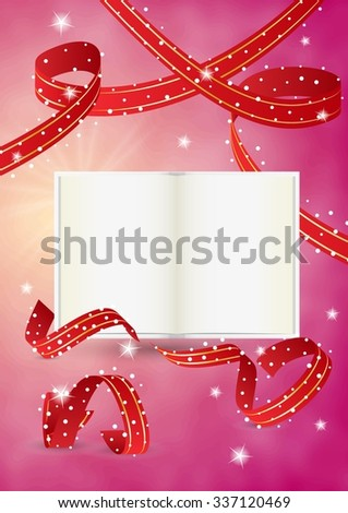empty book and red ribbons on red background - stock vector