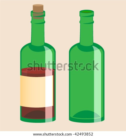 Empty bottle and full wine - stock vector