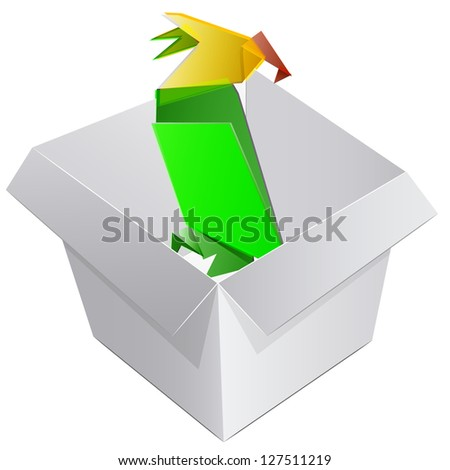 Empty box with an origami parrot. vector design - stock vector