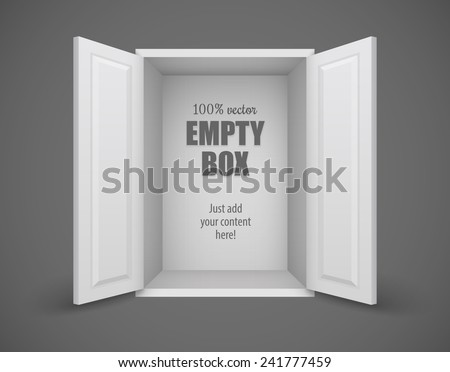 Empty box with open doors nothing inside. Eps10 vector illustration - stock vector