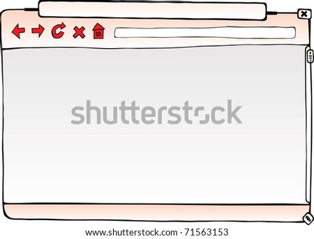 Empty browser window. Hand drawn vector illustration. - stock vector