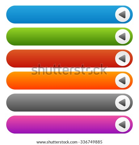 Empty button templates with arrow symbol - stock vector