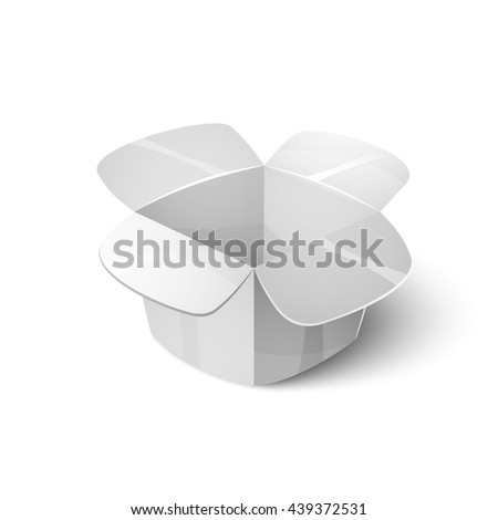 Empty cardboard packaging, open white box icon in cartoon style, vector illustration - stock vector