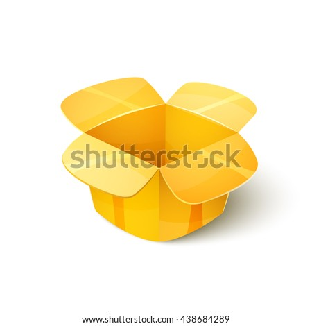 Empty cardboard packaging, open yellow box icon in cartoon style, vector illustration - stock vector