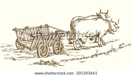 Empty cart pulled by big oxen. Vector monochrome freehand linear ink drawn background sketchy in art scribble antiquity style pen on paper with space for text on sky - stock vector