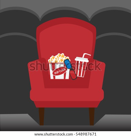 Empty chair inside movie cinema