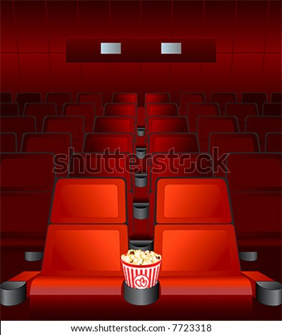 empty chairs inside movie cinema with highlighted love-seat - stock vector