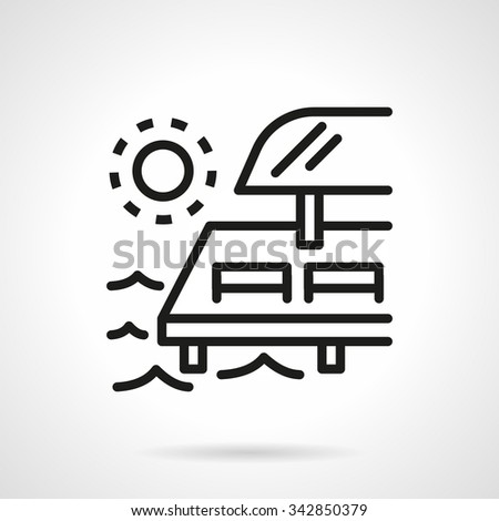 Empty chaise-longue on the pier with sunny seascape. Tropical resort. Black simple line vector icon. Elements of web design for business, website and mobile - stock vector