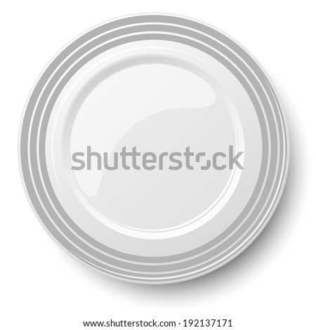 Empty classic white plate isolated on white background. View from above.  - stock vector