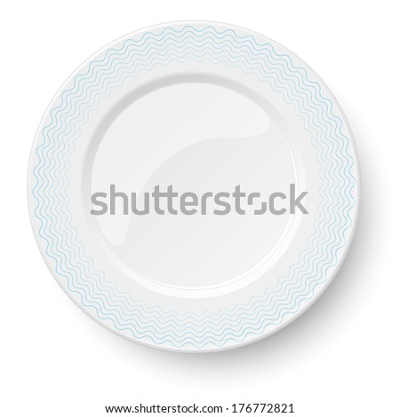 Empty classic white plate with wavy blue pattern isolated on white background. View from above. - stock vector