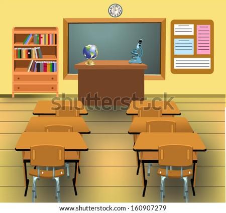 empty classroom - stock vector