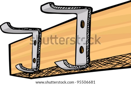 Empty coat rack with two hooks isolated over white - stock vector