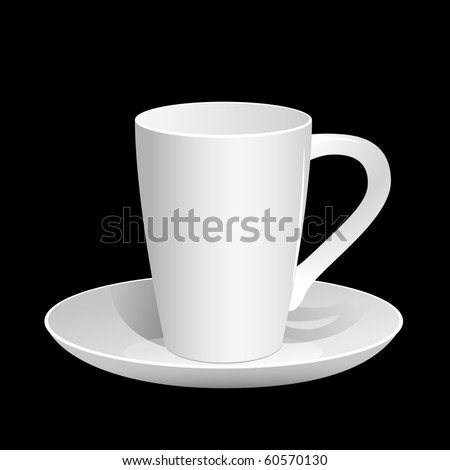 Empty coffee cup on the black background. Vector illustration. - stock vector