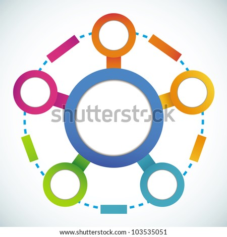 Empty color circle marketing flowchart vector illustration - stock vector