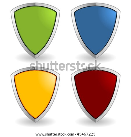 Empty colorful shields isolated over white background - stock vector