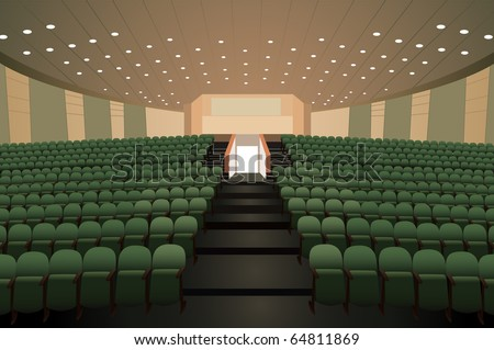 empty conference auditorium with green chairs vector - stock vector