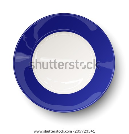 Empty dark blue plate isolated on white - stock vector
