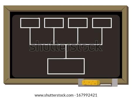 empty diagram on blackboard written with chalk  - stock vector
