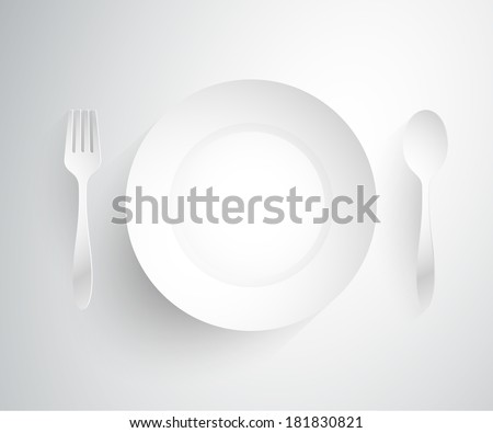 Empty dish, fork and spoon placed alongside.vector illustration - stock vector
