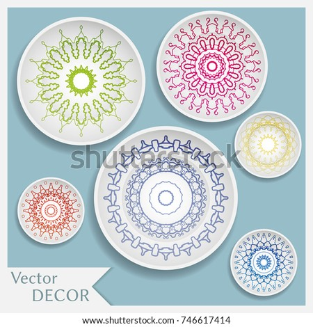 Empty dish porcelain plate mock up design isolated objects. Set of six decorative  sc 1 st  Shutterstock & Empty Dish Porcelain Plate Mock Design Stock Photo (Photo Vector ...