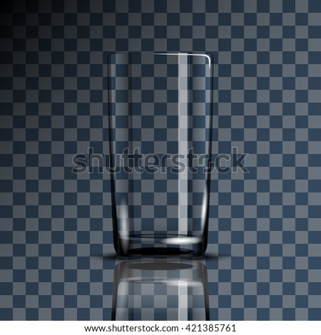 Empty Drinking Glass Cup on Transparent background. Illustration Icon Vector.