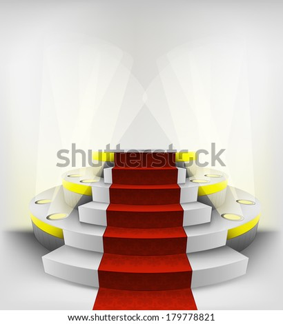 empty exhibition space on round illuminated podium vector illustration - stock vector