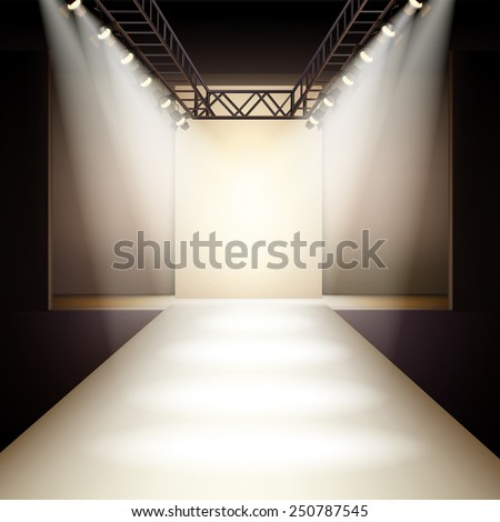 Empty fashion runway podium stage interior realistic background vector illustration - stock vector