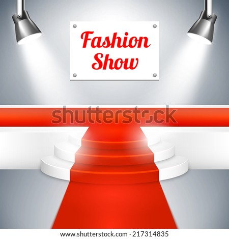 Empty Fashion Show catwalk with a sign  red carpet   raised platform at the end and spotlights  vector background illustration - stock vector