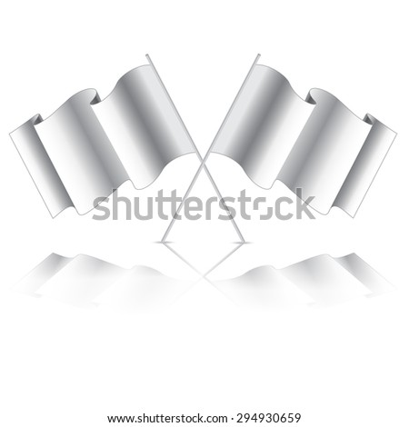 empty flag. Blank white flag. White banner with folds, separate shadows for on any color. Vector White Blank Flag Isolated on Background - stock vector