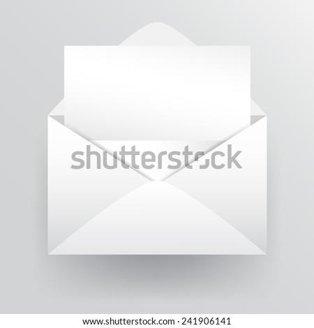 Empty fold letter paper inside white envelope. Vector design illustration. - stock vector