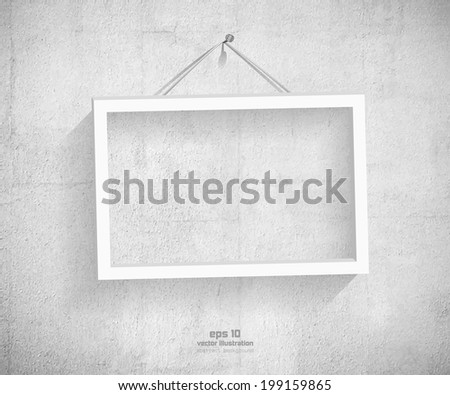 Empty frame hanging on the stone wall. EPS 10 vector illustration - stock vector