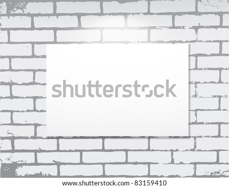 empty frame on a brick wall.  Art gallery. Vector illustration. - stock vector