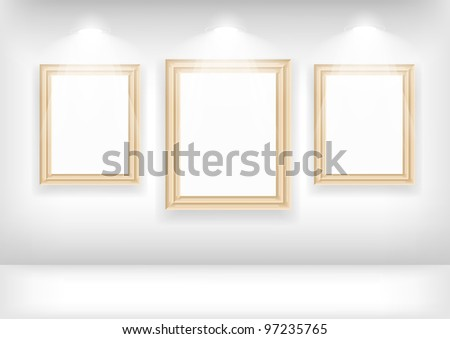 Empty frame on white wall in gallerys - stock vector