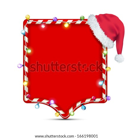 empty frame with santa claus hat - stock vector