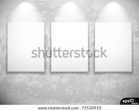 Empty frames on grunge wall museum stock vector 73530910 empty frames on grunge wall museum or gallery interior sciox Images