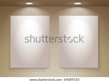 empty frames on wall, eps10 vector, you can change colors for the background - stock vector