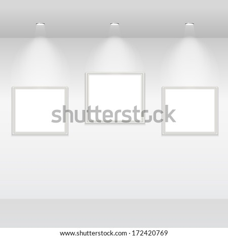 empty frames on white wall with halogen lamps. vector gallery interior template - stock vector