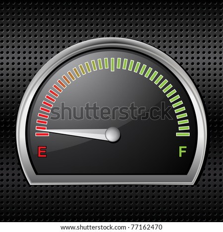 Empty fuel gage on a metallic black background