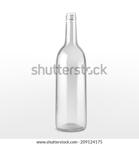 empty glass bottle isolated on white background - stock vector